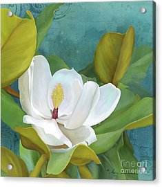 Acrylic Print featuring the painting Perfection - Magnolia Blossom Floral by Audrey Jeanne Roberts