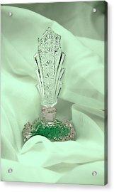 Perfume Bottle Still Life II In Green Acrylic Print by Tom Mc Nemar