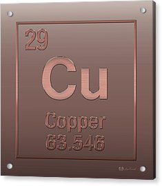 Periodic Table Of Elements - Copper - Cu - Copper On Copper Acrylic Print