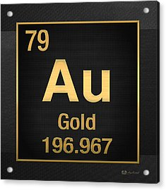 Periodic Table Of Elements - Gold - Au - Gold On Black Acrylic Print by Serge Averbukh