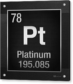 Periodic Table Of Elements - Platinum - Pt - Platinum On Black Acrylic Print by Serge Averbukh