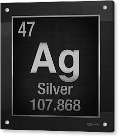 Periodic Table Of Elements - Silver - Ag - Silver On Black Acrylic Print by Serge Averbukh
