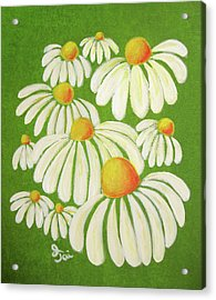Perky Daisies Acrylic Print by Oiyee At Oystudio