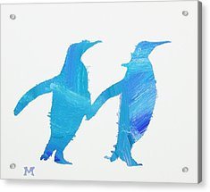 Acrylic Print featuring the painting Perky Penguins by Candace Shrope