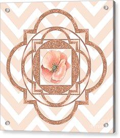 Persian Poppy, Rose Gold Quatrefoil, Chevron Acrylic Print