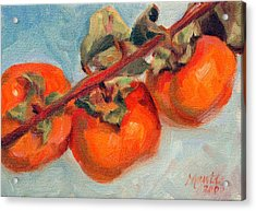 Persimmons Acrylic Print by Athena  Mantle