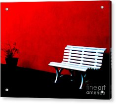 Perspective In Bench White   Acrylic Print by Steven  Digman
