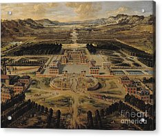 Perspective View Of The Chateau Gardens And Park Of Versailles Acrylic Print by Pierre Patel