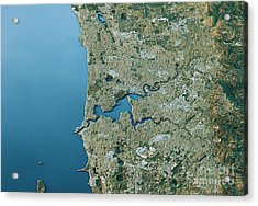 Perth 3d Landscape View South-north Natural Color Acrylic Print by Frank Ramspott