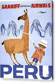 Peru Vintage Travel Poster Restored Acrylic Print by Carsten Reisinger