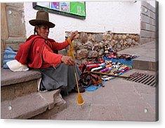 Acrylic Print featuring the photograph Peruvian Weaver by Aidan Moran