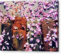 Acrylic Print featuring the photograph Petals On The Bricks 2 Ae by Lyle Crump