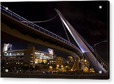 Acrylic Print featuring the photograph Petco Park And The Pedestrian Bridge by Nathan Rupert
