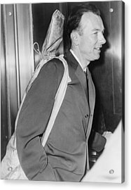Pete Seeger B. 1919 Arrives At Federal Acrylic Print by Everett
