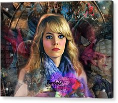 Acrylic Print featuring the digital art Peter Parker's Haunting Memories Of Gwen Stacy by Barbara Tristan