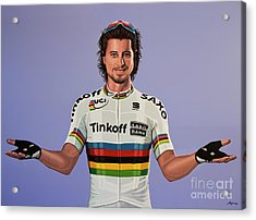 Peter Sagan Painting Acrylic Print by Paul Meijering