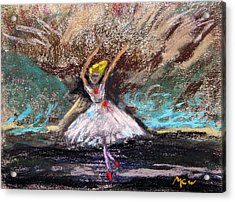 Acrylic Print featuring the painting Petite Ballerina by Mary Carol Williams