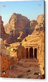 Petra Buildings, Pond And Gardens Complex Acrylic Print