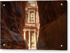 Petra Treasury Revealed Acrylic Print by Nigel Fletcher-Jones