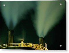 Petroleum Refinery Chimneys At Night Acrylic Print by Sami Sarkis