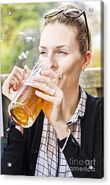 Petty Woman Drinking Beer Stein During Oktoberfest Acrylic Print by Jorgo Photography - Wall Art Gallery