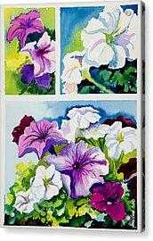Petunias In Summer Acrylic Print by Janis Grau