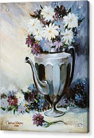 Pewter Coffee Pot And Daisies Acrylic Print by JoAnne Corpany