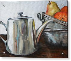 Pewter Teapot And Bowls Acrylic Print by Amy Higgins
