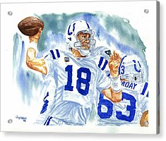 Peyton Manning - The Technician Acrylic Print by George  Brooks