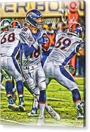 Peyton Manning Broncos Oil Art Acrylic Print by Joe Hamilton