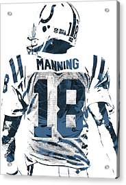 Peyton Manning Indianapolis Colts Pixel Art Acrylic Print