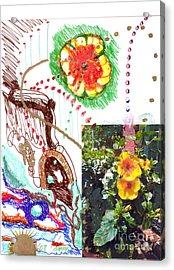 Acrylic Print featuring the drawing Phantasy On Yellow Hibiscus by Rod Ismay
