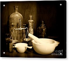 Pharmacy - Mortar And Pestle - Black And White Acrylic Print by Paul Ward