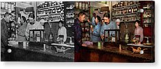 Acrylic Print featuring the photograph Pharmacy - The Dispensing Chemist 1918 - Side By Side by Mike Savad