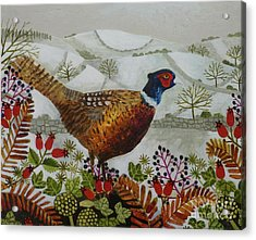 Pheasant And Snowy Hillside Acrylic Print