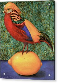 Acrylic Print featuring the painting Pheasant On A Lemon by Leah Saulnier The Painting Maniac