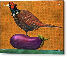 Acrylic Print featuring the painting Pheasant On An Eggplant by Leah Saulnier The Painting Maniac