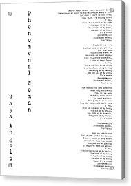 Phenomenal Woman By Maya Angelou - Feminism Poetry Acrylic Print