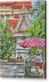 Phetchaburi Street Vendor Painting Acrylic Print