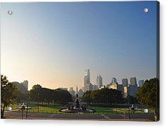 Philadelphia Across Eakins Oval Acrylic Print by Bill Cannon