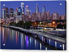 Philadelphia Blue Hour Acrylic Print by Frozen in Time Fine Art Photography