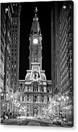 Philadelphia City Hall At Night Acrylic Print