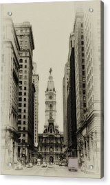 Philadelphia City Hall From South Broad Street Acrylic Print by Bill Cannon