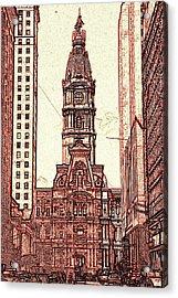 Philadelphia City Hall - Pencil Acrylic Print