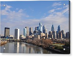 Philadelphia From The South Street Bridge Acrylic Print by Bill Cannon