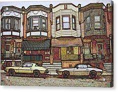 Philadelphia Homes - Color Pencil Acrylic Print