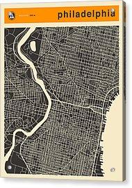 Philadelphia Map Acrylic Print by Jazzberry Blue