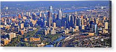 Philadelphia Museum Of Art And City Skyline Aerial Panorama Acrylic Print