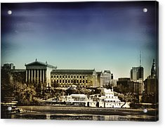 Philadelphia Museum Of Art And The Fairmount Waterworks From West River Drive Acrylic Print by Bill Cannon