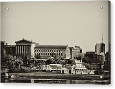 Philadelphia Museum Of Art And The Fairmount Waterworks From West River Drive In Black And White Acrylic Print by Bill Cannon